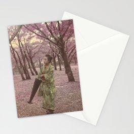 Geisha among Cherry Blossom trees Stationery Cards