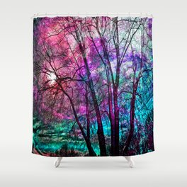 Purple teal forest Shower Curtain