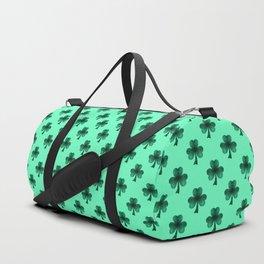 Emerald green shamrock clover sparkles Duffle Bag