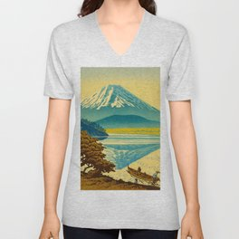 Japanese Woodblock Print Vintage Asian Art Colorful woodblock prints Mount Fuji Unisex V-Neck