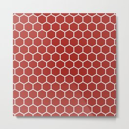 Honeycomb (White & Maroon Pattern) Metal Print