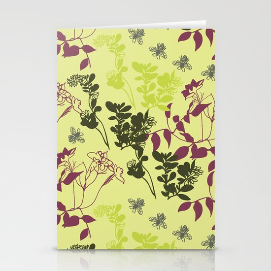 pattern with plants and bees Stationery Cards