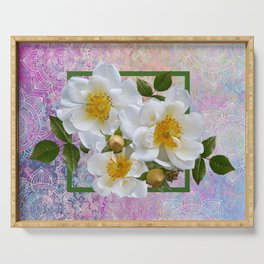 White Flowers with Inset Serving Tray
