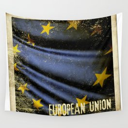 Grunge sticker of European Union flag Wall Tapestry