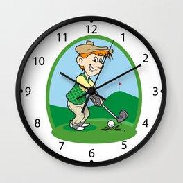 boy cartoon golf player Wall Clock