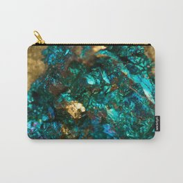 Teal Oil Slick and Gold Quartz Carry-All Pouch