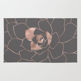 Rosegold  blossom on grey - Pink metal-effect flower Rug