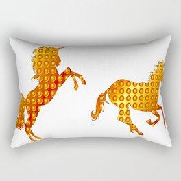 Golden couple unicorns-White Rectangular Pillow