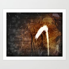 Glowing grass in starry cave Art Print