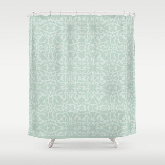 Vintage Look Mint Pattern Shower Curtain