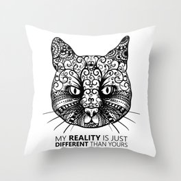 Different Reality Cat Throw Pillow