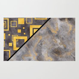Gold Squares Geometric Black Marble Masculine Pattern Rug