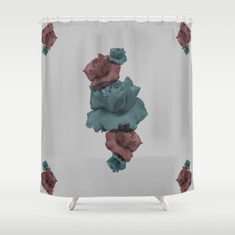 Glitch Roses Gray Shower Curtain