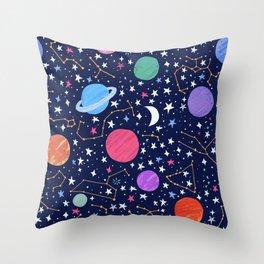 Astrology Zodiac Constellation in Midnight Blue Throw Pillow