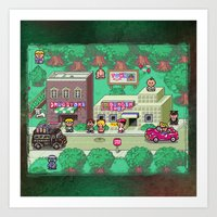 earthbound Art Prints featuring Earthbound town by likelikes