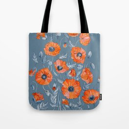 Red poppies in grey Tote Bag