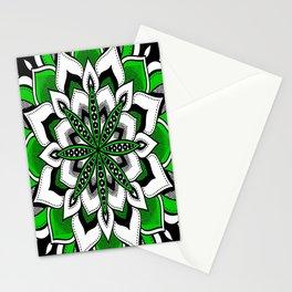 Mandala : Green Flower Mandala Stationery Cards