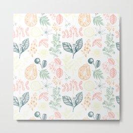 Exotic Flora Pattern Metal Print
