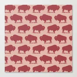 Buffalo Bison Pattern Dusty Rose and Burgundy Canvas Print