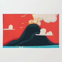 Mount Vesuvius vintage travel Art Rug