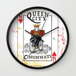 Queen of Cincinnati Bike Print Wall Clock