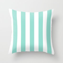 Pale robin egg blue - solid color - white vertical lines pattern Throw Pillow