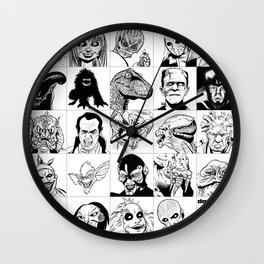 Inktober Monsters Wall Clock