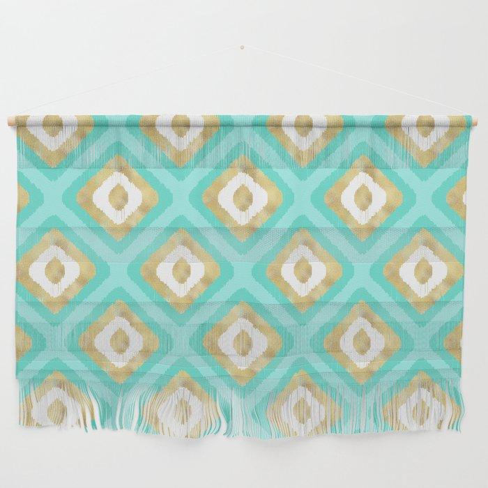 Gold & Turquoise Ikat Pattern Wall Hanging