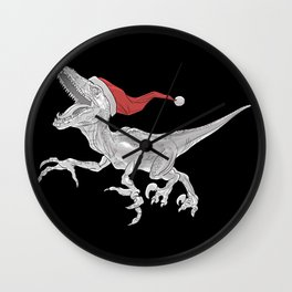Black and White Christmas Velociraptor Wall Clock