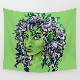 Female elf profile 1e Wall Tapestry