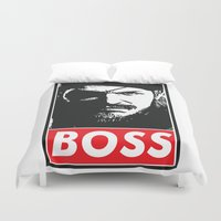 metal gear solid Duvet Covers featuring Big Boss - Metal Gear Solid by TxzDesign