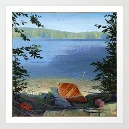 canoe on shore Art Print