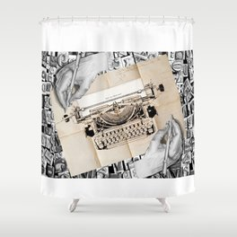 Drawing Hands and Writing Hands Shower Curtain