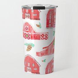 Watercolor Snowy Red Holiday Barns Travel Mug