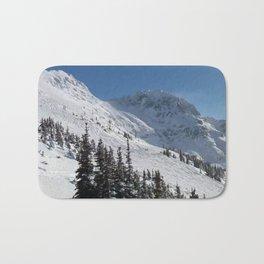 Mountains color palette of white-black-blue Bath Mat