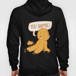 You Animal Gingerbread Man Being Eaten Christmas Food Funny Saying Hoody
