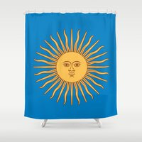 argentina Shower Curtains featuring argentina flag sun by ArtSchool