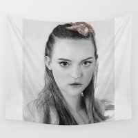gemma correll Wall Tapestries featuring Gemma Ward Mermaid (Pencil Art) Tamara by Aeriz85