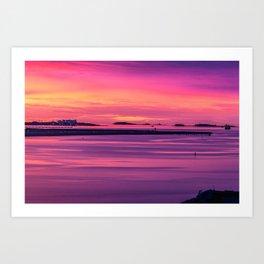 Amazing pre-sunrise colors in Boston Harbor Art Print