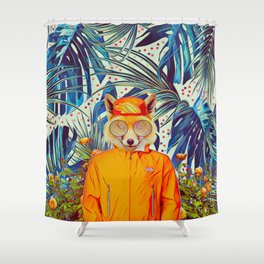 Floral foxy Shower Curtain