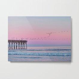 Beach Birds Sunset  Metal Print