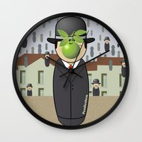 magritte Wall Clocks featuring Kokeshi Magritte by Pendientera
