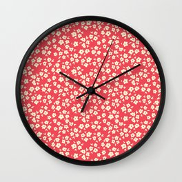 Sunkissed Coral Coconut Cream Flower Pattern Wall Clock