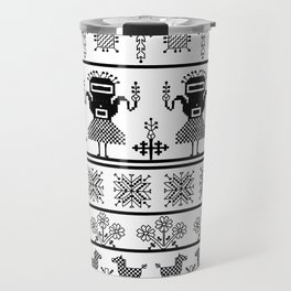 folk embroidery, black on white background. Collection of flowers, birds, peacocks, horse Travel Mug