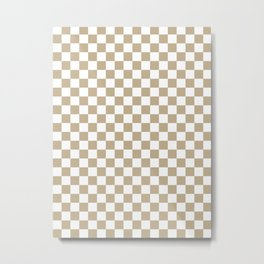 Small Checkered - White and Khaki Brown Metal Print