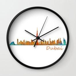 Dubai, emirates, City Cityscape Skyline watercolor art v1 Wall Clock
