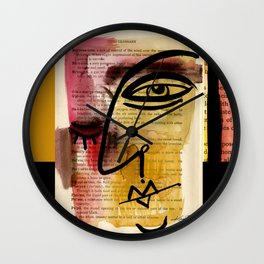 "Funky Face Abstract, ""I See 38"" by Kathy morton Stanion Wall Clock"