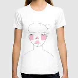 Line Drawing of Girl with Bun  T-shirt