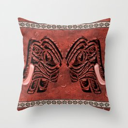 African elephant with ethnic motives V4 V WH Throw Pillow
