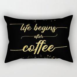 TEXT ART GOLD Life begins after coffee Rectangular Pillow